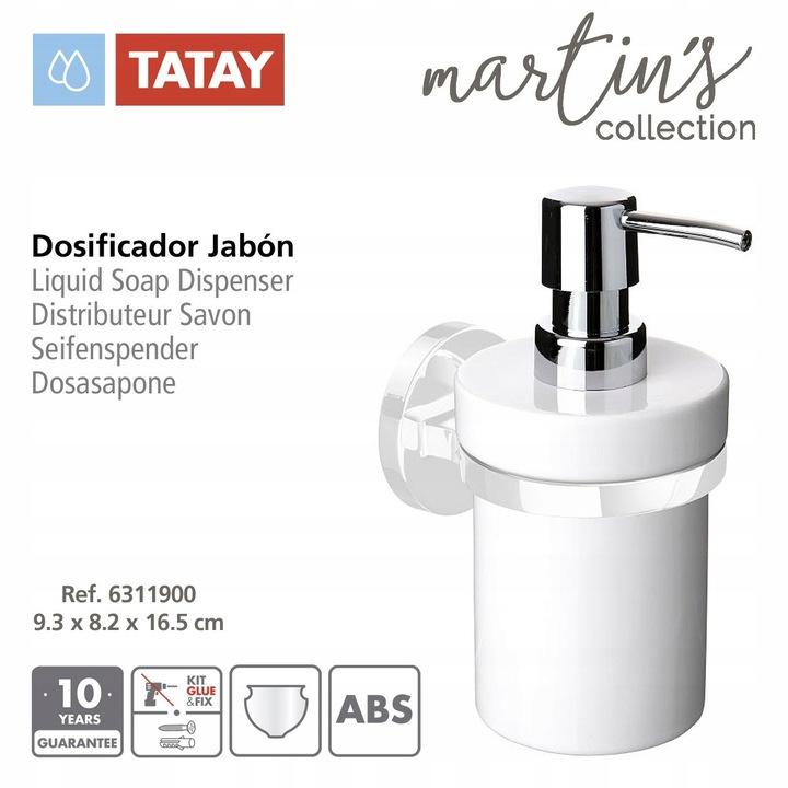 Dozownik mydła w płynie Tatay Martins, ABS, biały.