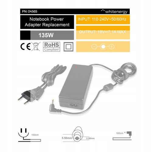 Zasilacz Whitenergy do Acer 135W 19V wtyk 5.5x2.5