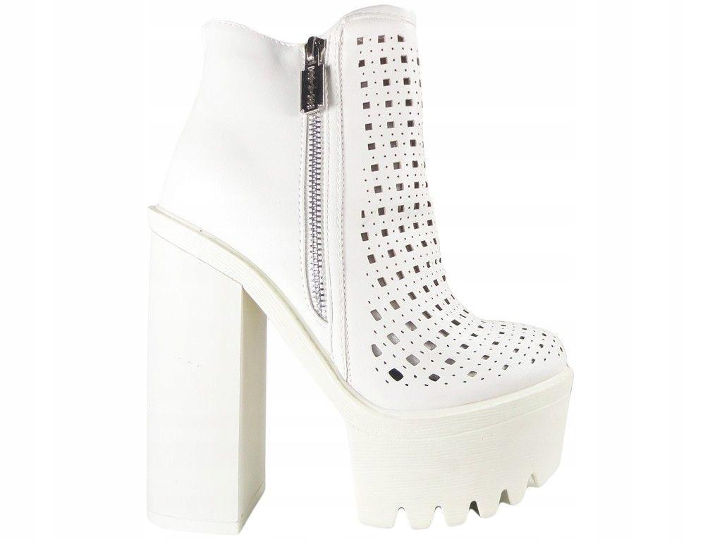 Białe botki ażurowe stylowe buty damskie 36