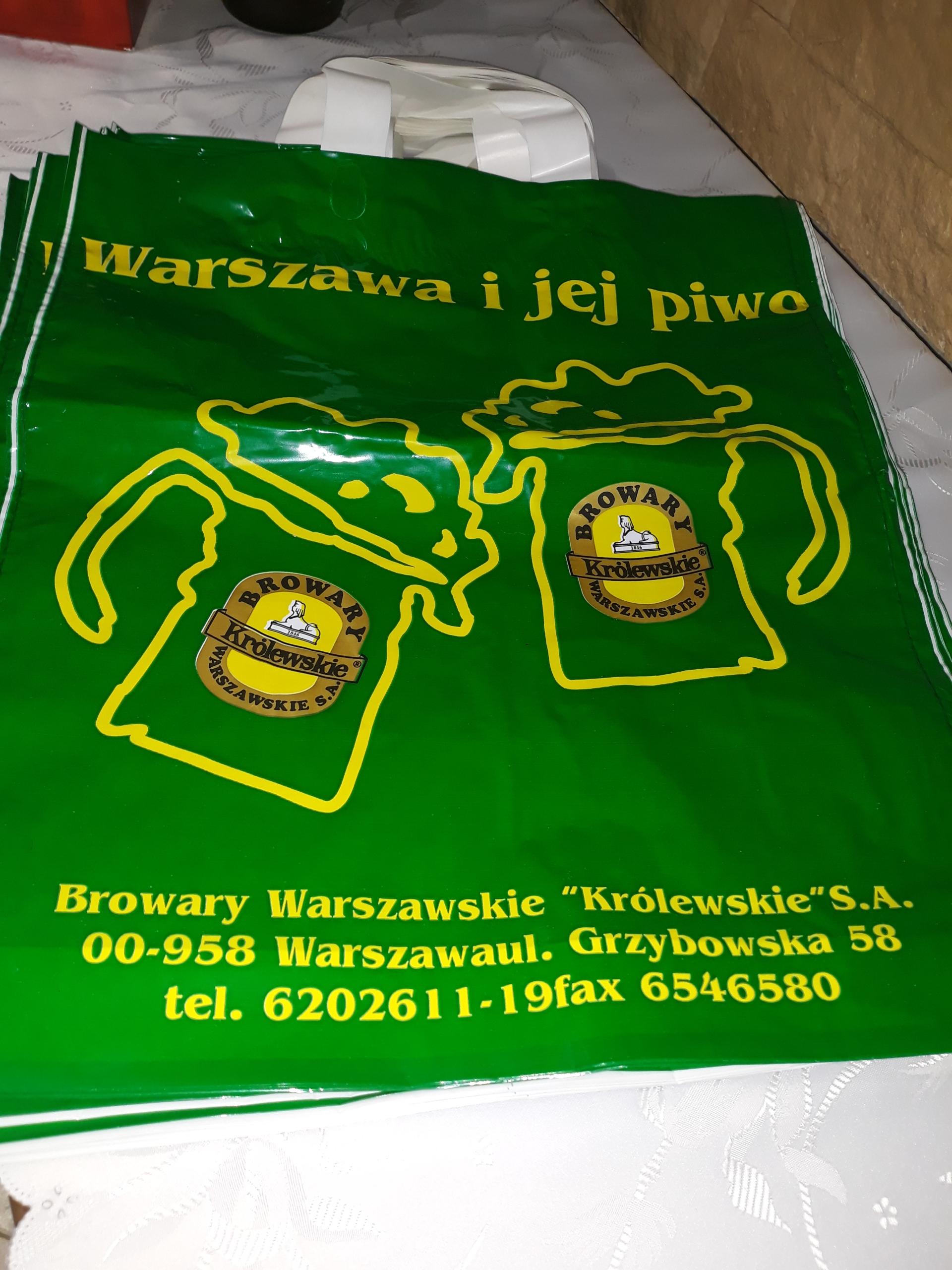 10szt Browary Warszawskie torby foliowe reklamówki