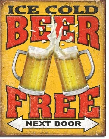 Zimne darmowe piwo drzwi obok Metalowy plakat USA