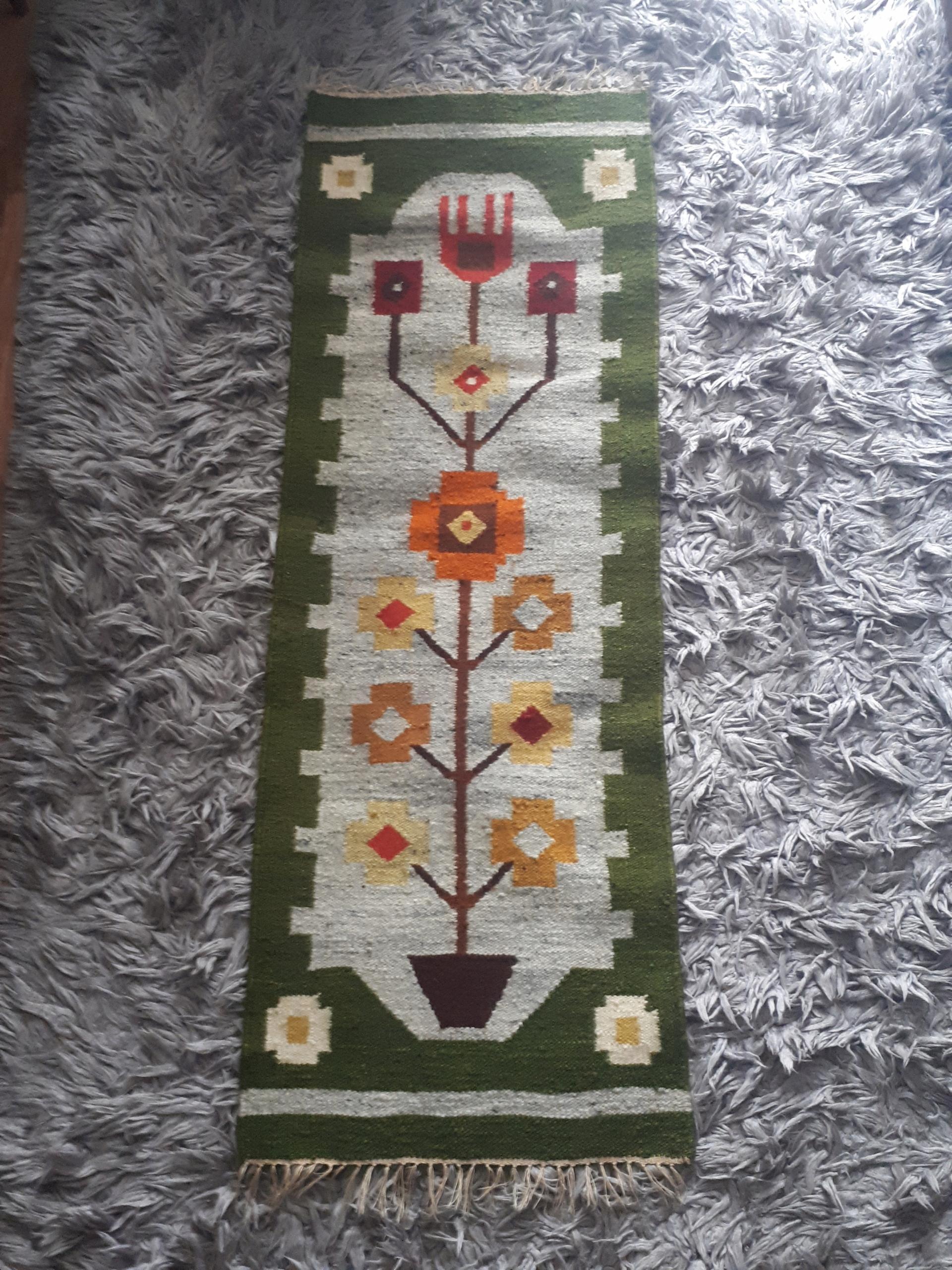 Kilim PRL kwiatki w doniczce