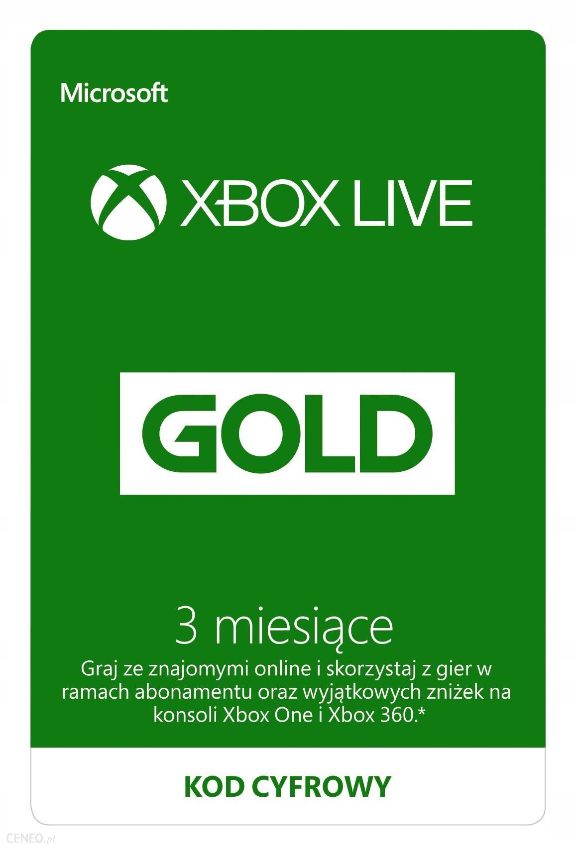 Xbox Live 3 miesiące Automat 24 godziny