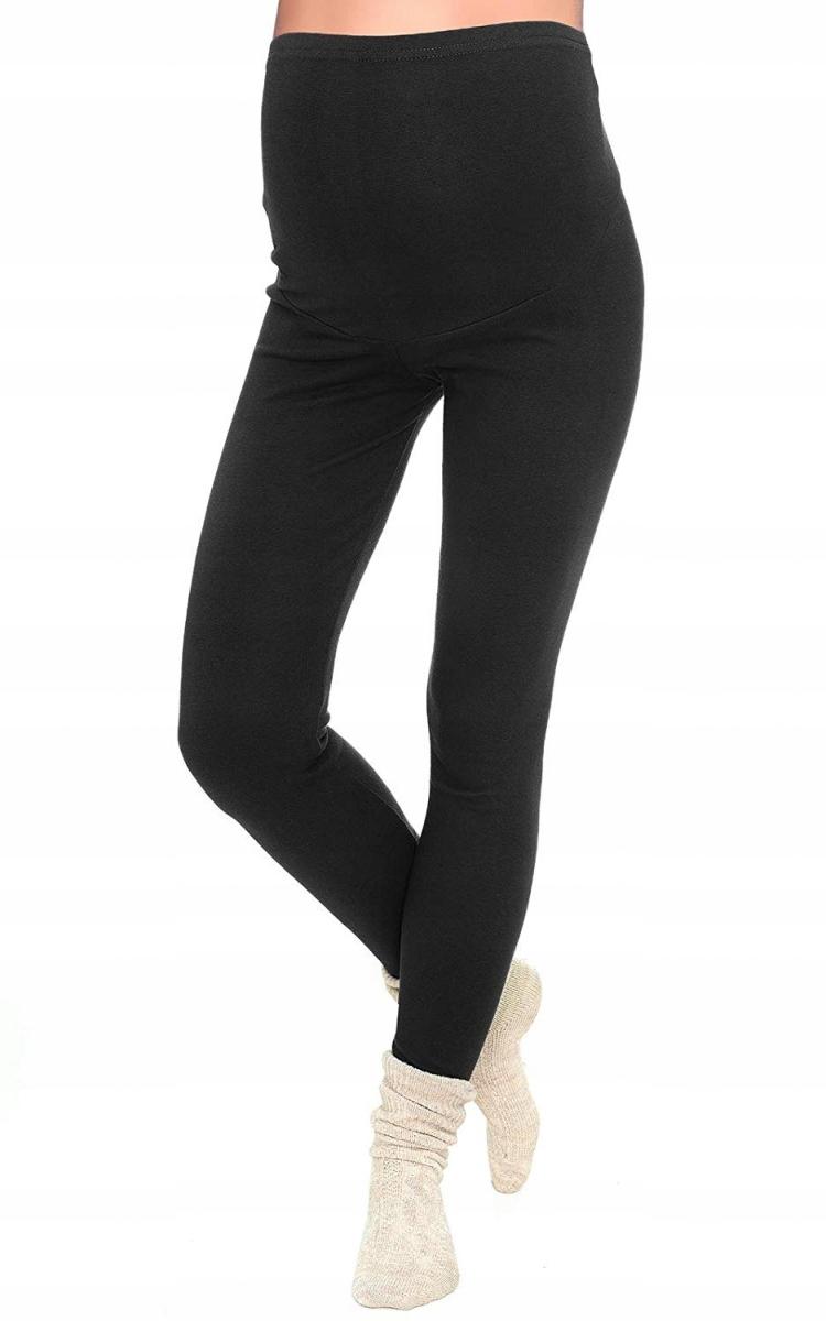 Komfortowe legginsy ciążowe zimowe czarne M / 38