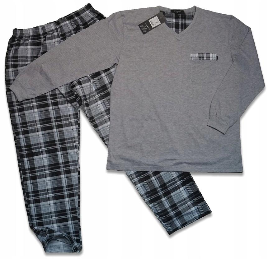 MODNA piżama męska, długi rękaw, 100% bawełna 4XL