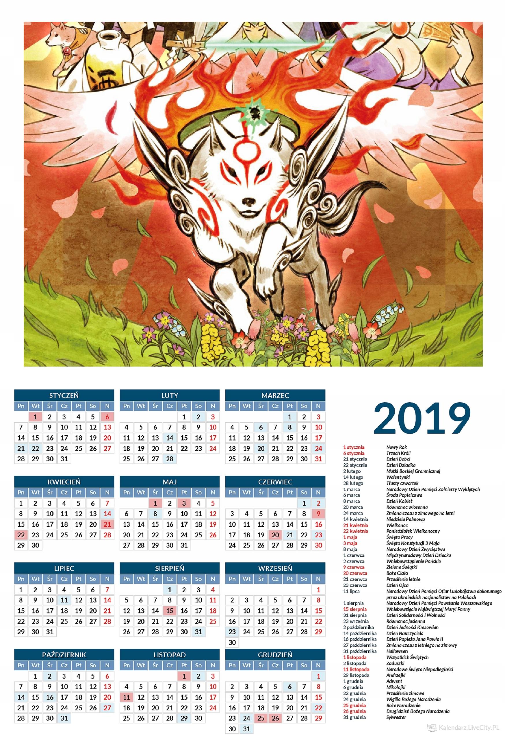 Kalendarz 2019 GRA OKAMI