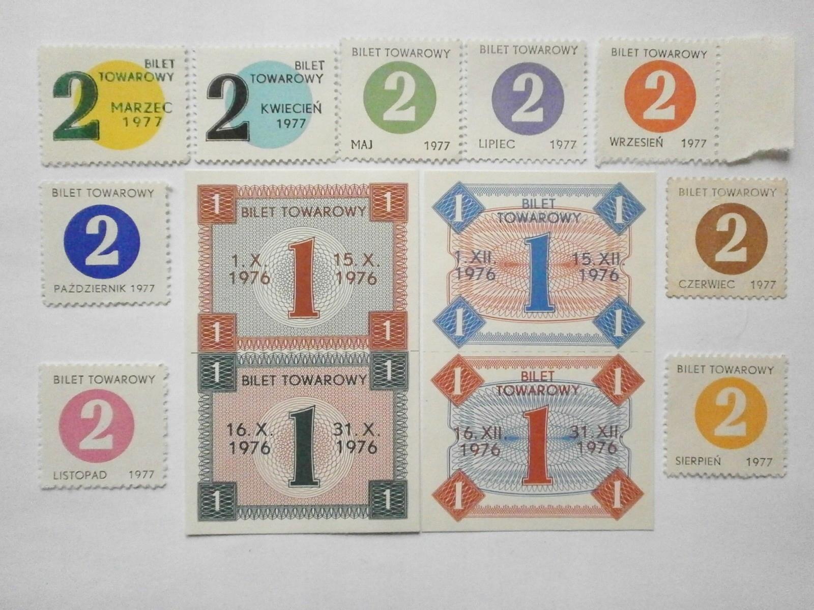 Kartki zaopatrzeniowe Cukier 11 egzemplarzy III.