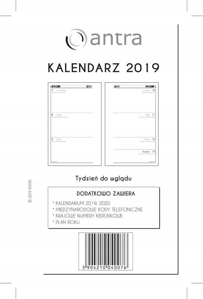 Kalendarz 2019 Wkład Kieszonkowy TDW ANTRA