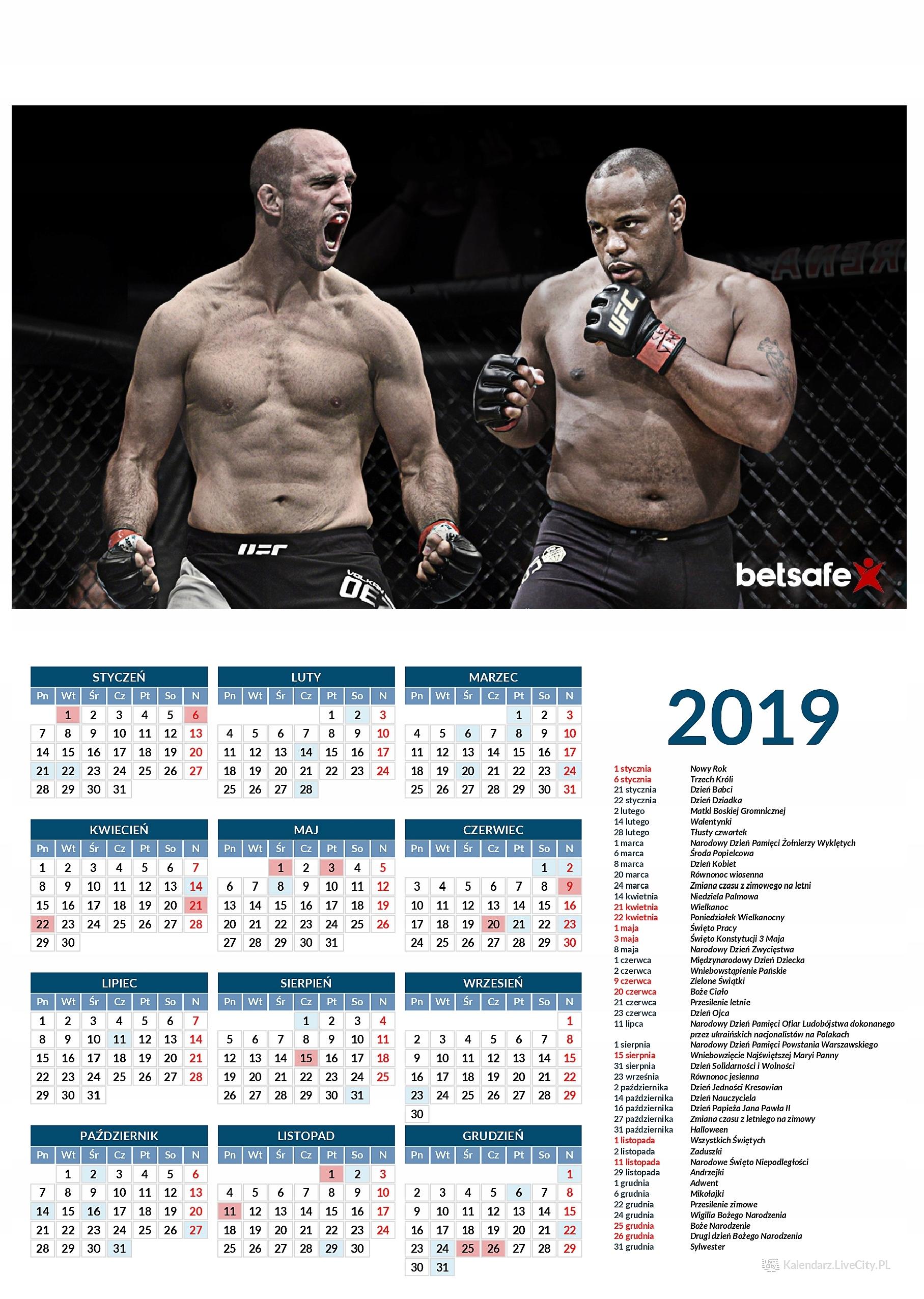 Kalendarz 2019 MMA Daniel Cormier