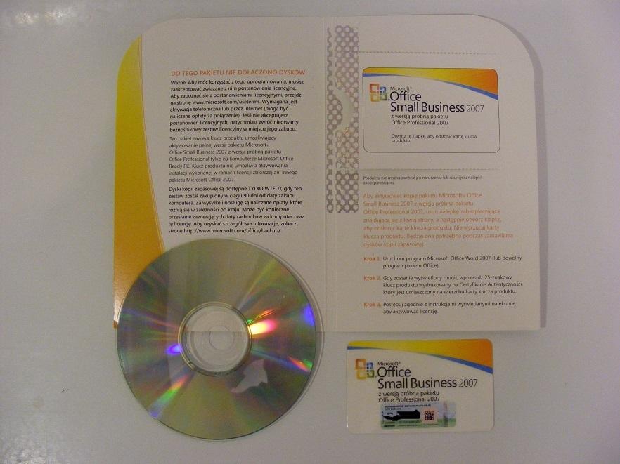 Oryginalny Ms Office 2007 Small Business + płyta