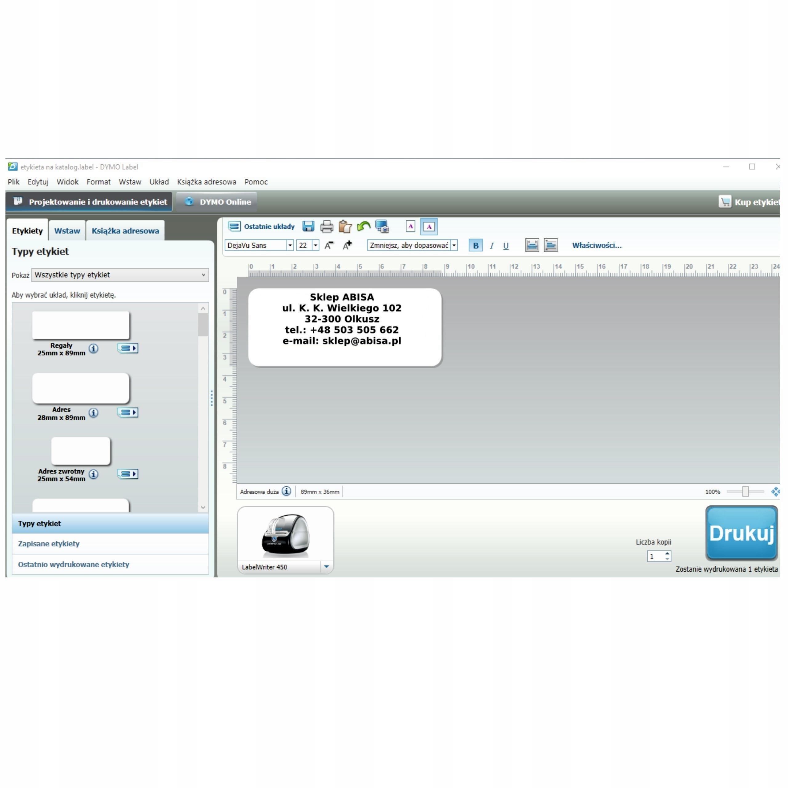 Drukarka DYMO LabelWriter 450 TURBO 3x ETYKIETY - 7598645005