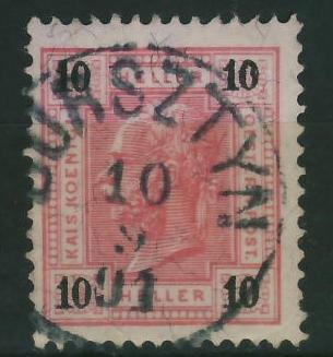 Bursztyn 1891 r - stempel na zn.austryjackim