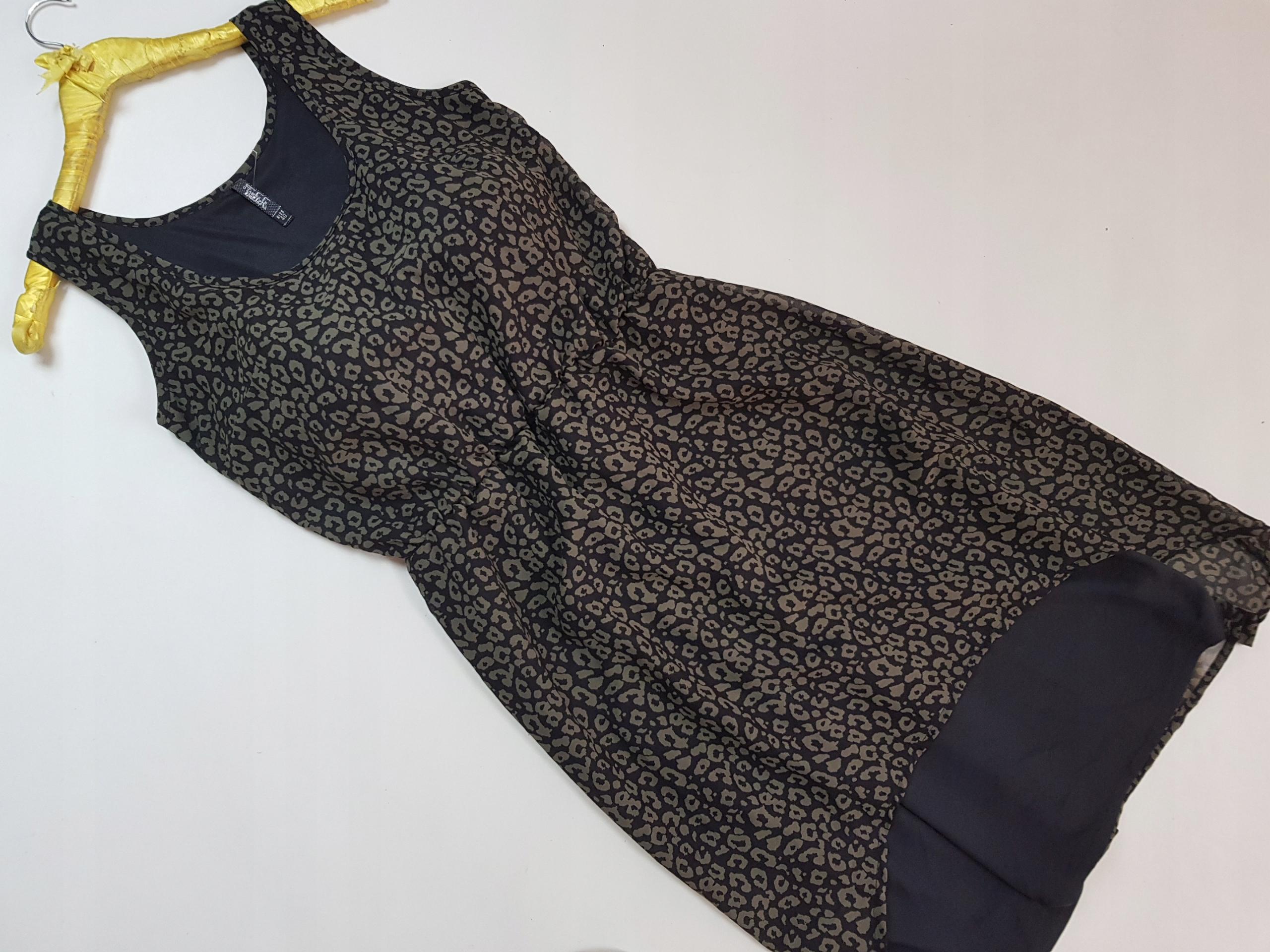 Reserved 40-Sukienka marszczona w cętki
