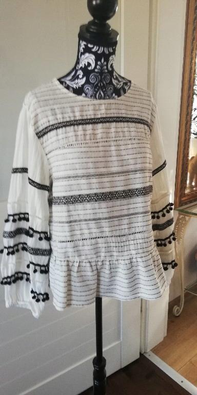 koszula bluzka Zara boho folk fredzle hippie