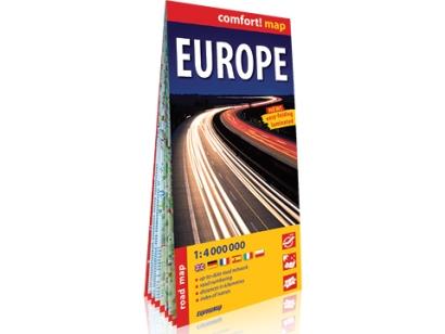 Europa mapa drogowa laminowana wodoodporna