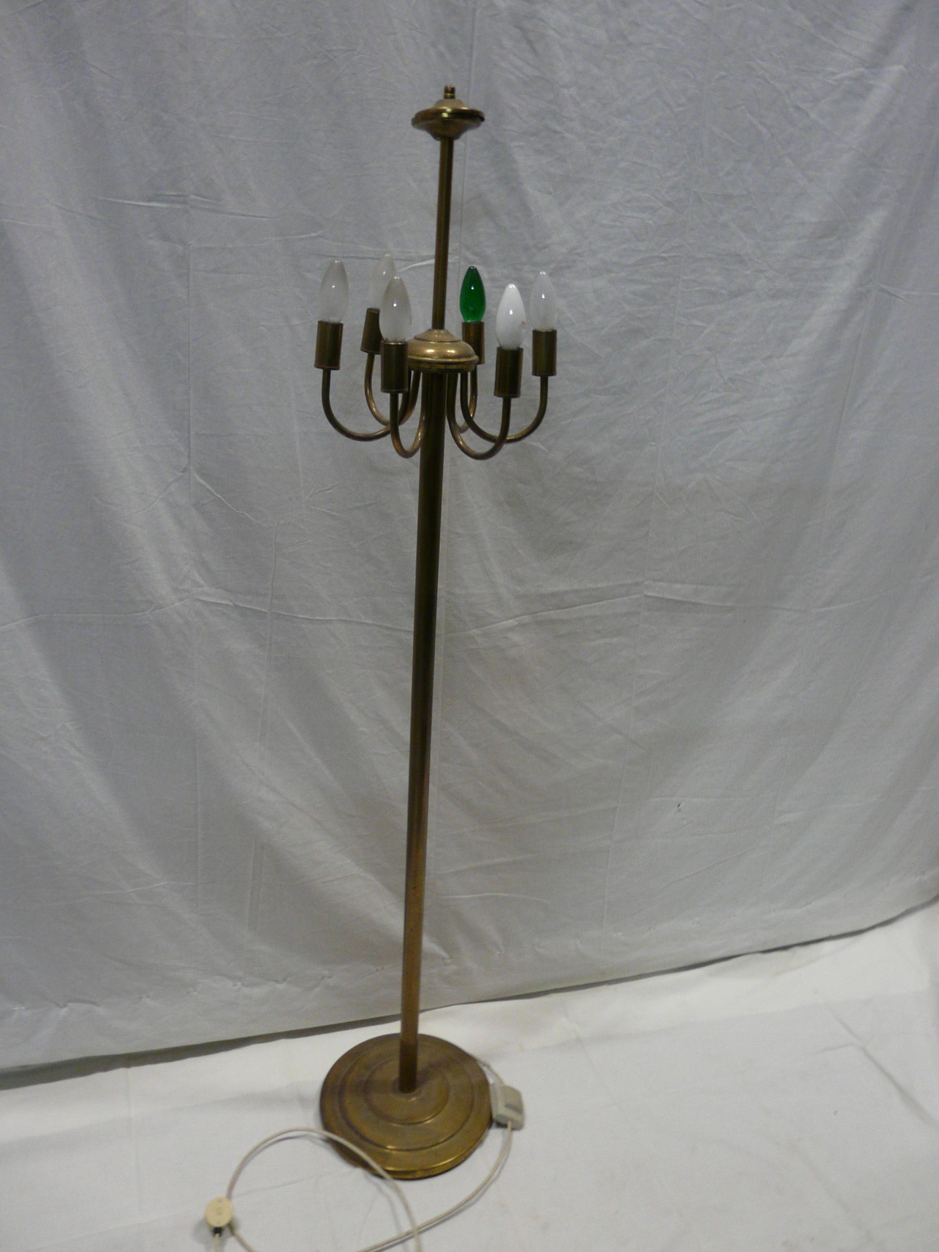 Lampa podłogowa mosiądz stal
