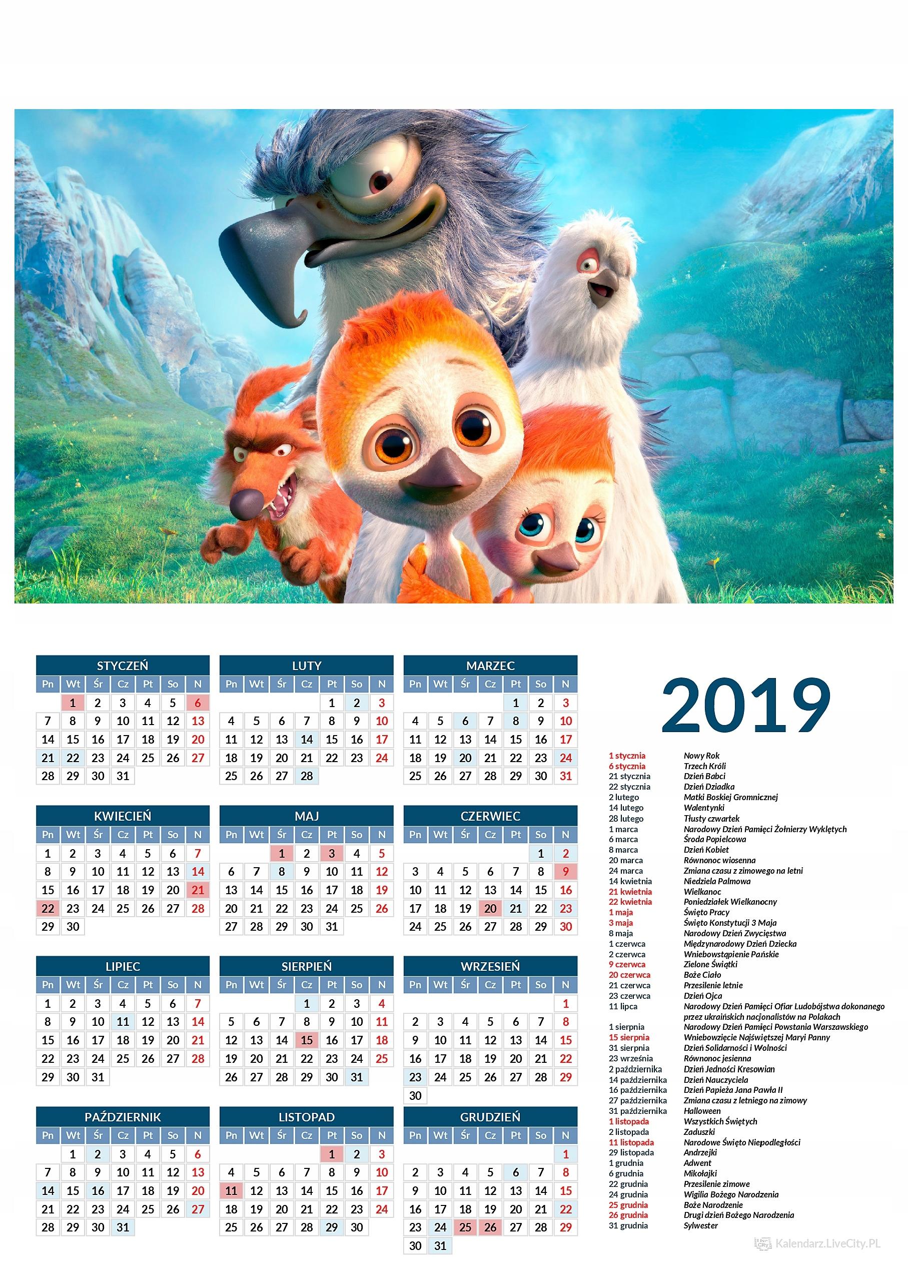 Kalendarz 2019 film odlotowy nielot