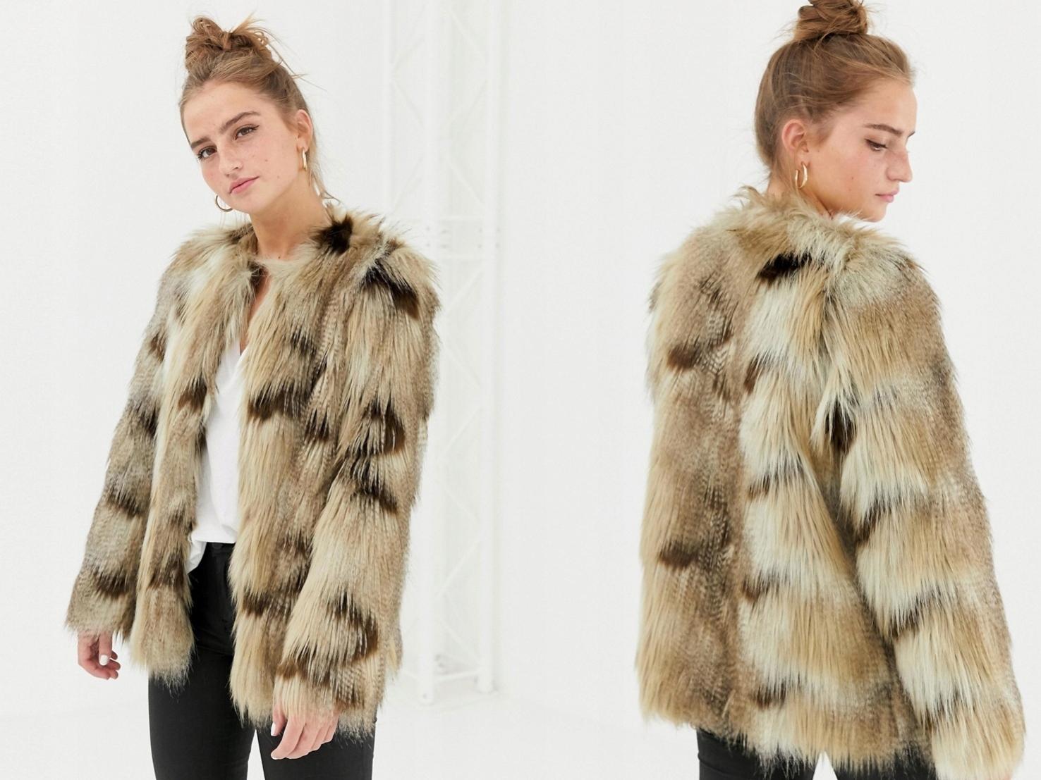 New Look - futrzana kurtka z brązowym wzorem S