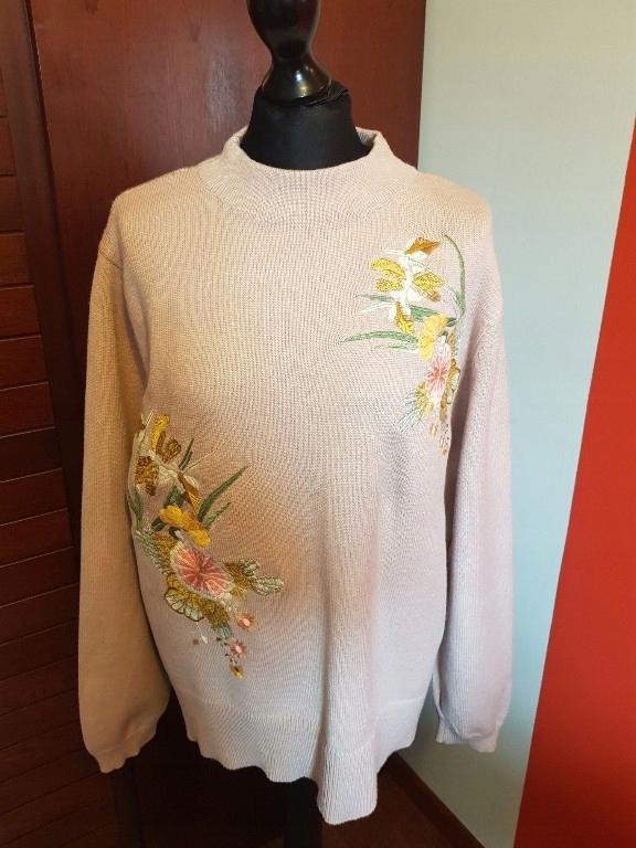 Sweter wiosenny z haftem pudrowy róż, M&S,L,XL