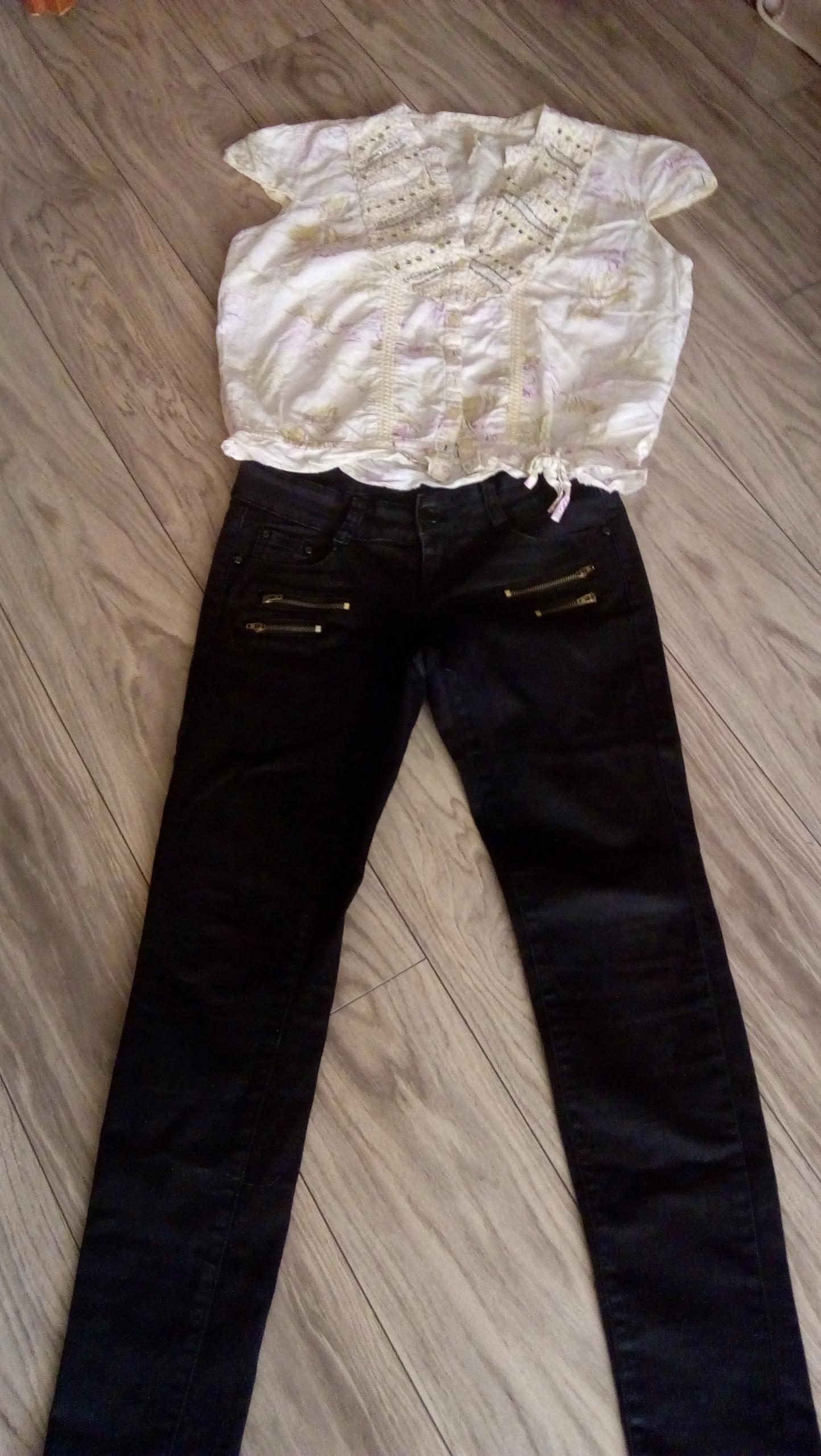 Czarne rurki plus bluzka S 36 okazja
