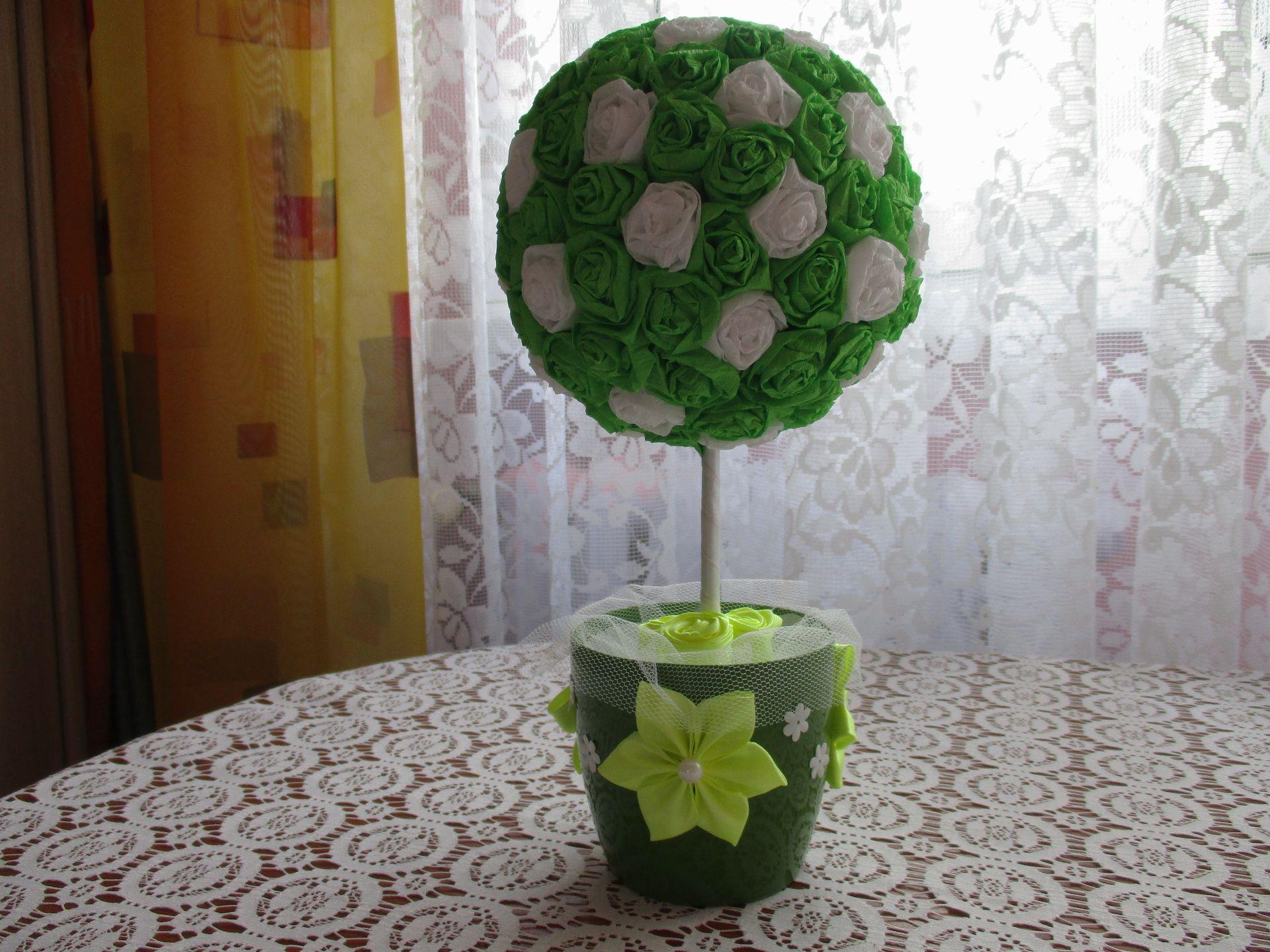 Drzewko kwiat prezent Dzień Kobiet - handmade