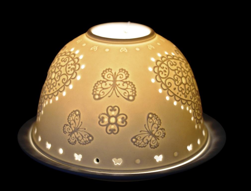 LAMPION PORCELANOWY BIAŁY Z WZOREM - MOTYLE