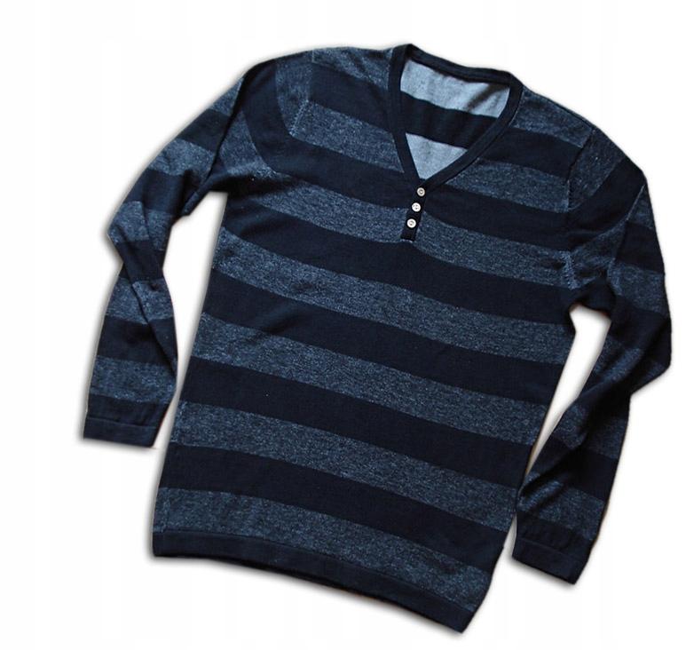 Cienki sweterek F&F-czarno szare pasy