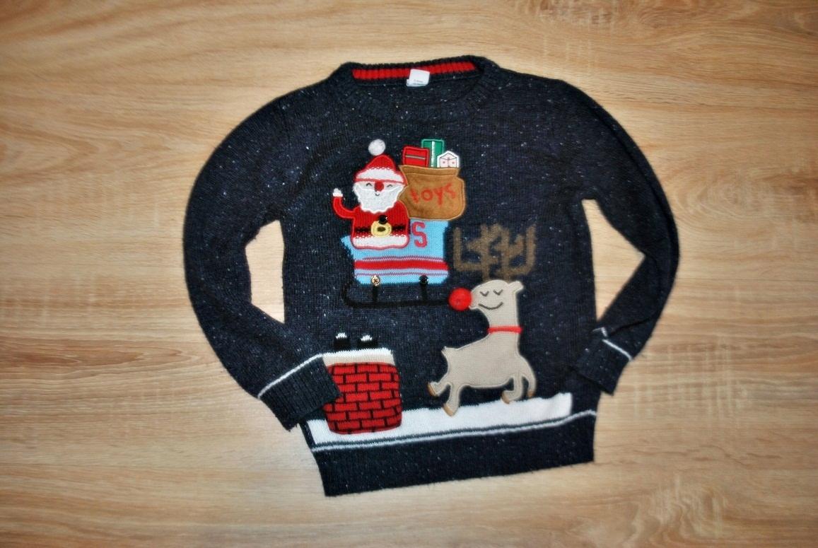 TU świąteczny sweterek RENIFER MIKOŁAJ 110-116 BDB