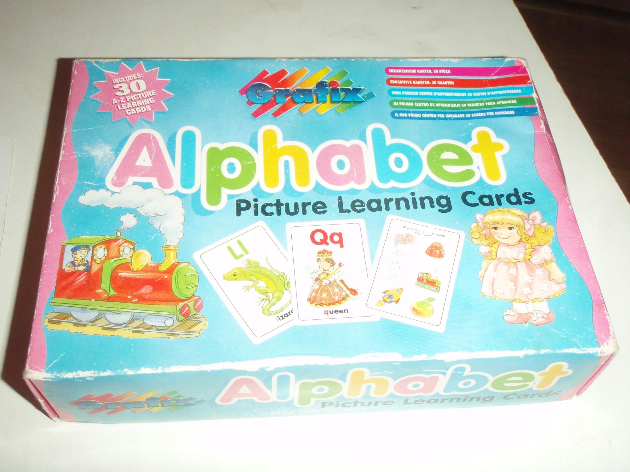 Alfabet karty z literkami i obrazkiem j. angielski