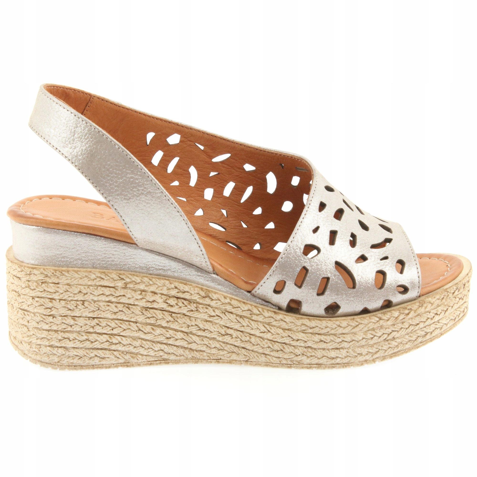 Badura sandały damskie brązowe skórzane r.39
