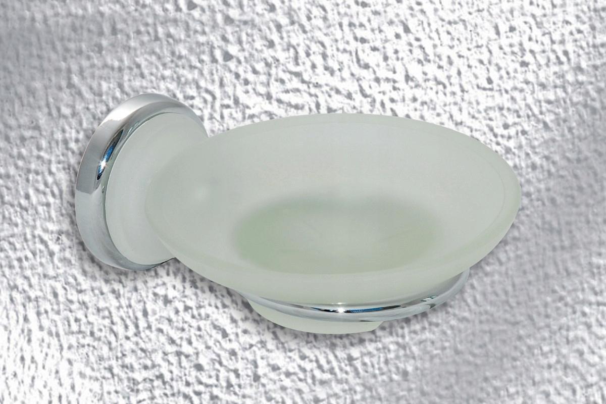 Mydelniczka łazienkowa przykręcana OKRĄGŁA szklana