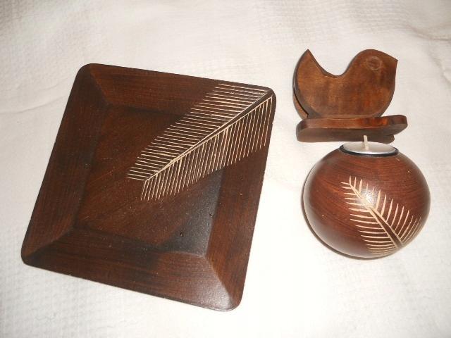 JYSK komplet drewniany świecznik+serwetnik