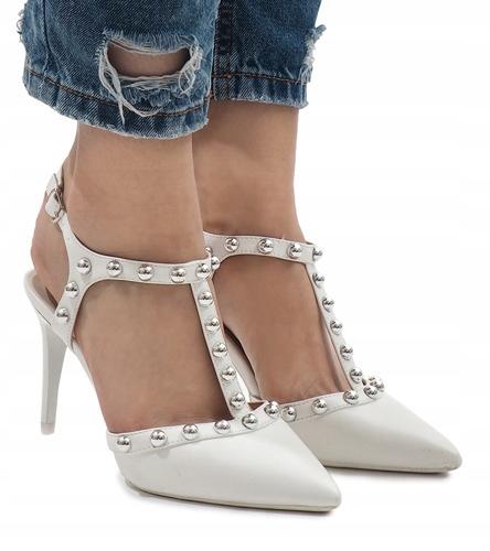 Białe sandałki szpilki ćwieki sandały B-57 36