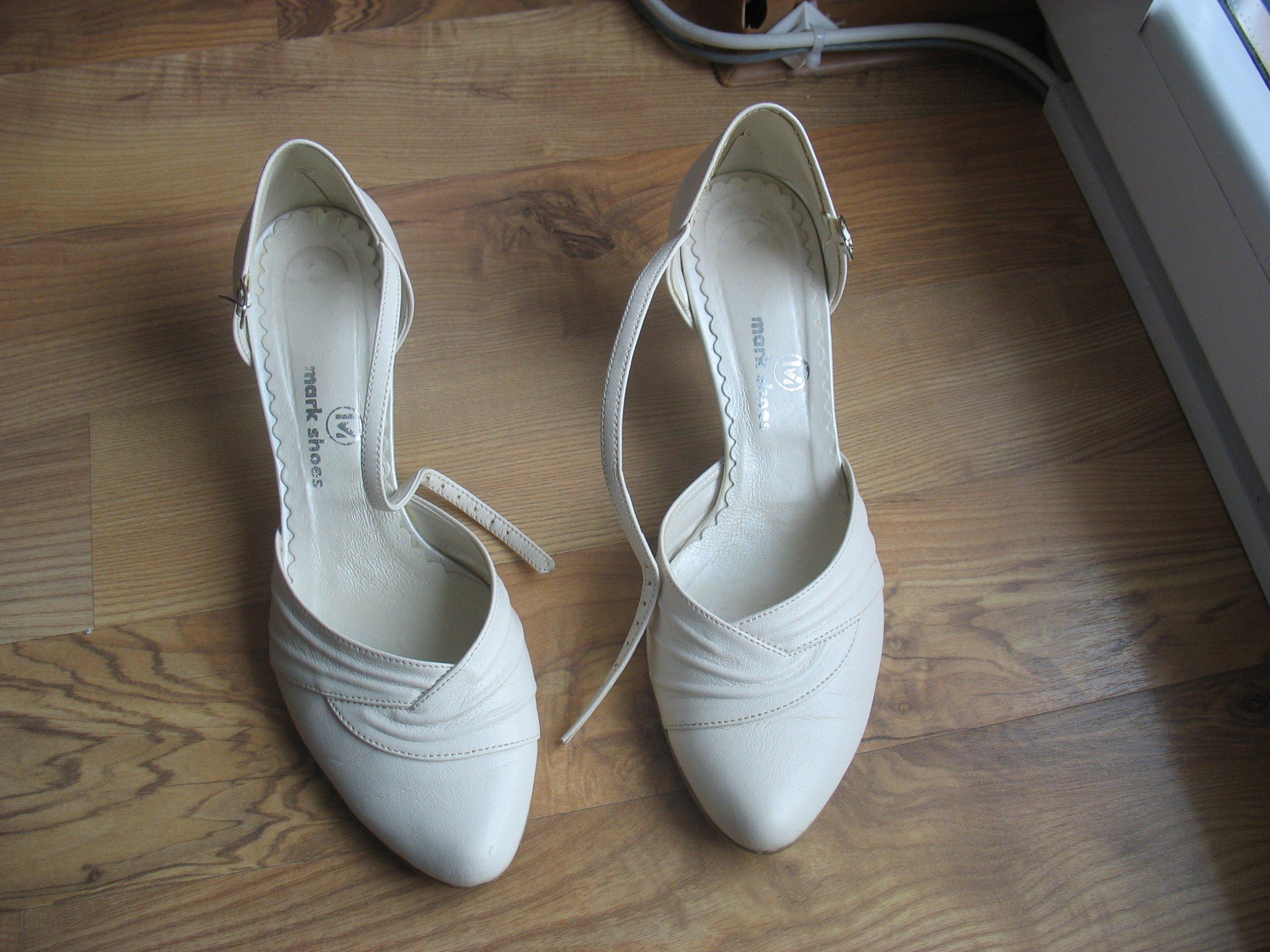 12247d32 Buty ślubne Mark Shoes rozmiar 38, kolor ecru eko - 7320535834 - oficjalne  archiwum allegro