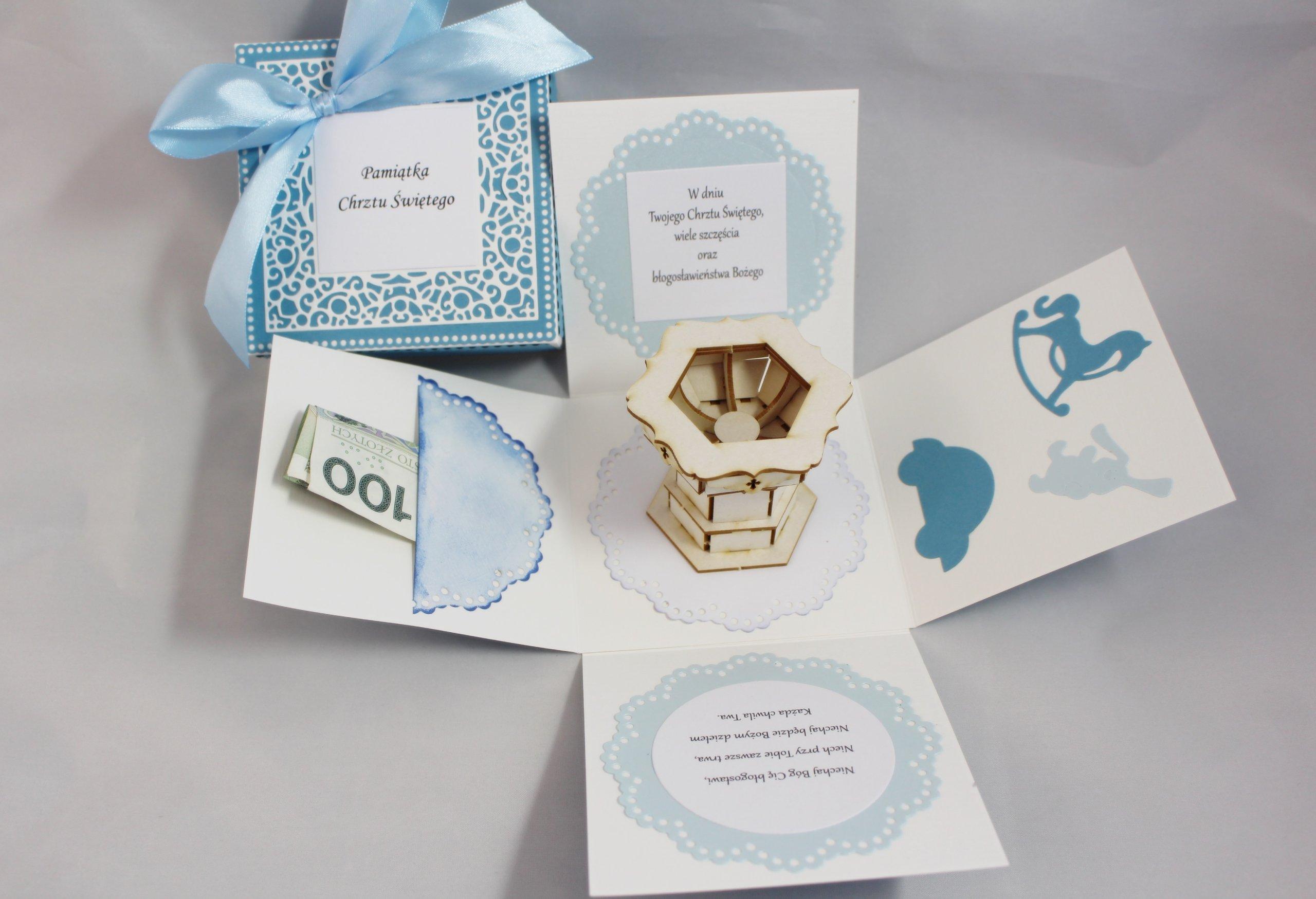 Bardzo dobra Exploding box kartka pudełko na Chrzest niebieskie - 6796043121 HS46