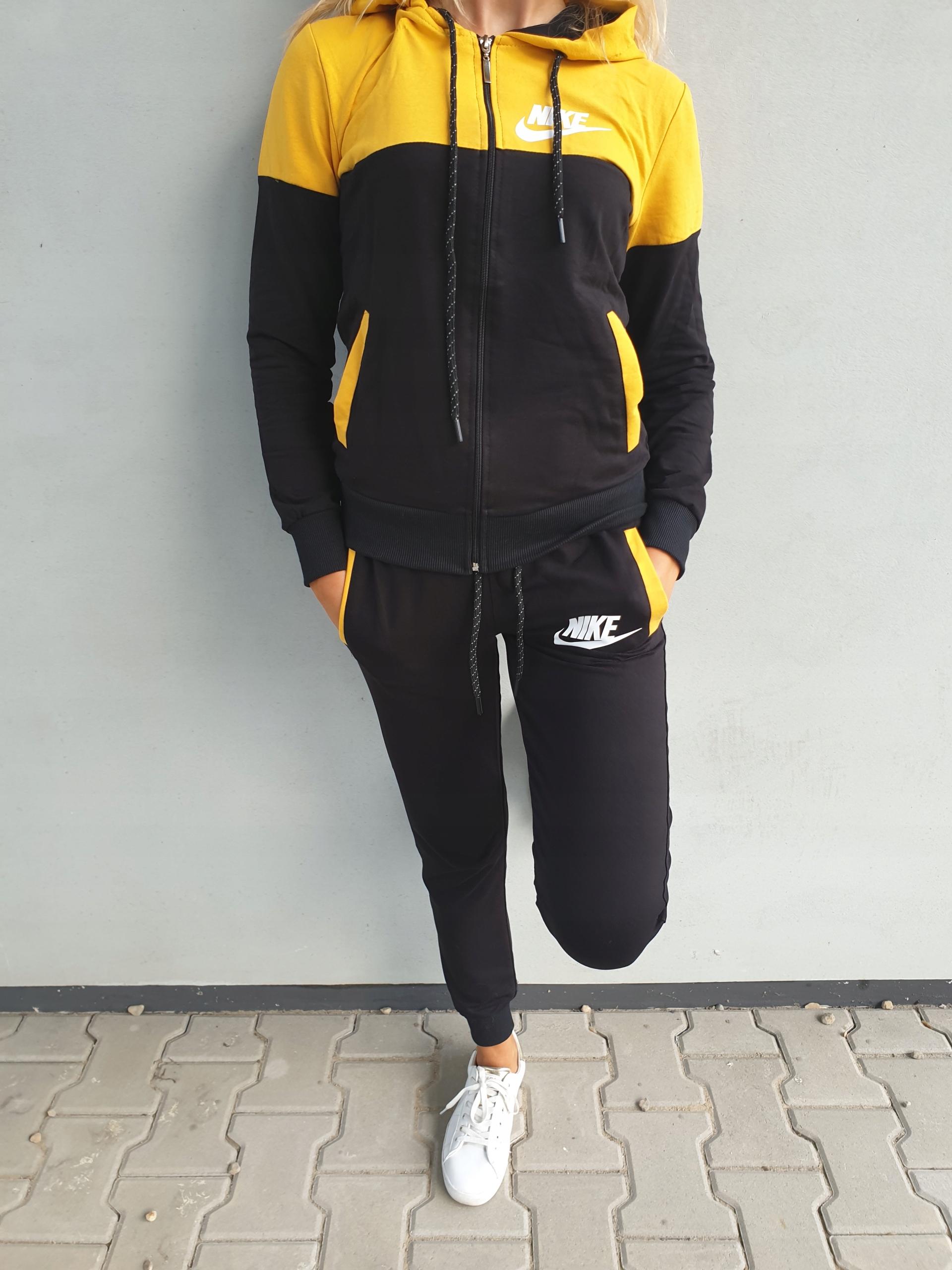 NOWY kobiecy i stylowy dres damski żółto-czarny S