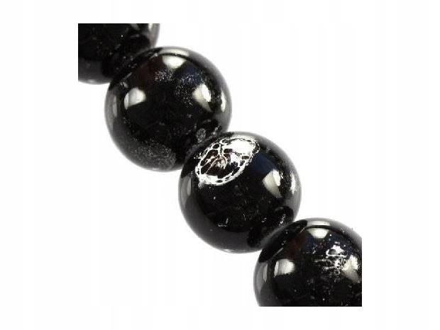 sznurek 80 cm : koraliki galactic czarne 14 mm