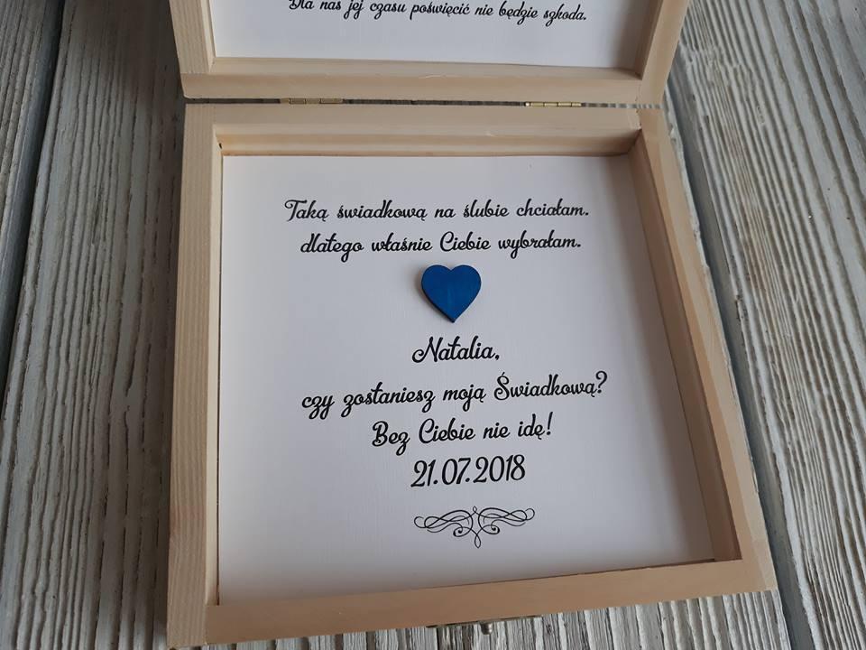 Modish Zaproszenia ślub prośba świadków pudełko drewniane - 7248464770 JQ58
