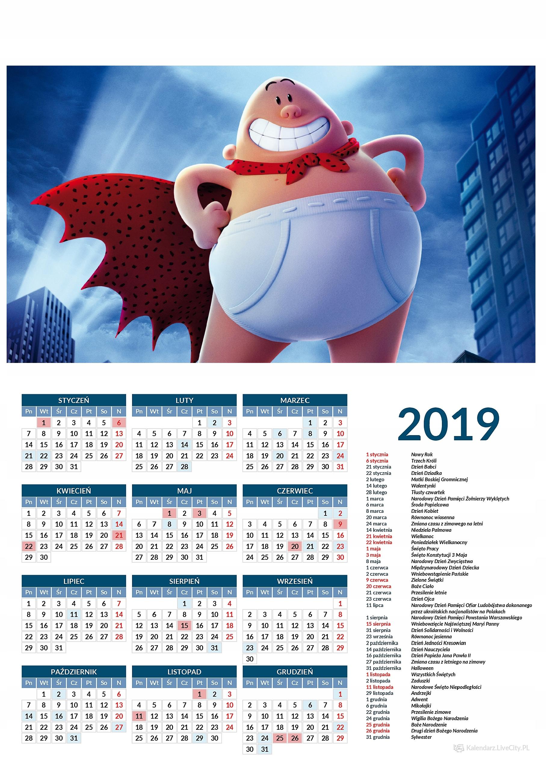 Kalendarz 2019 film kapitan majtas