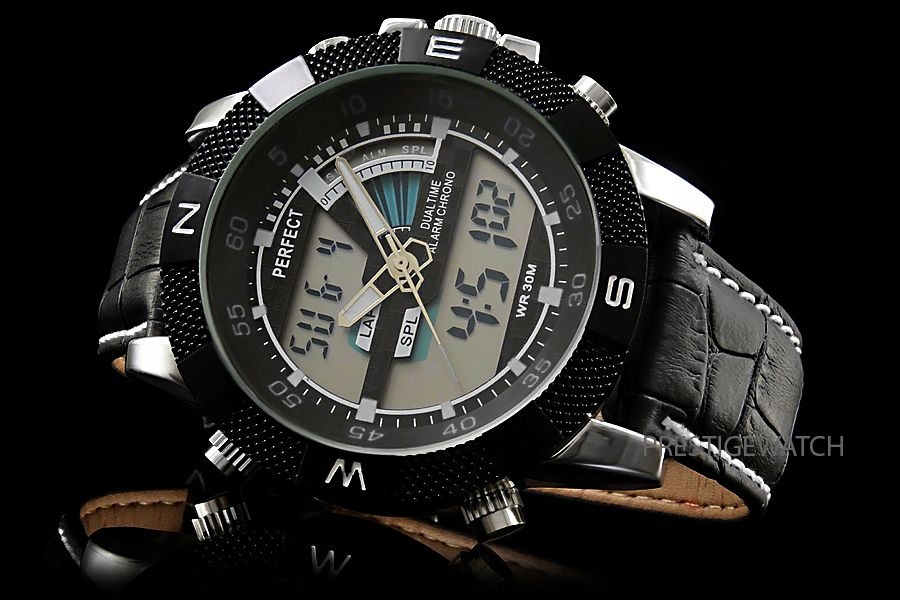 Zegarek Męski PERFECT KANONIER LCD DUAL TIME A8574