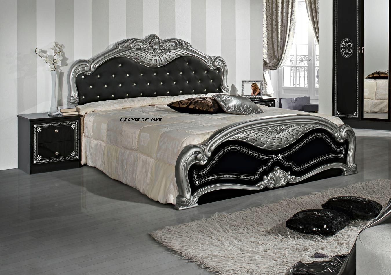 Włoska Sypialnia Lux Czarno Srebrna Sabo Meble 8024306837