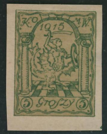Warszawa Poczta Miejska KOMW 1915 r - 5 groszy