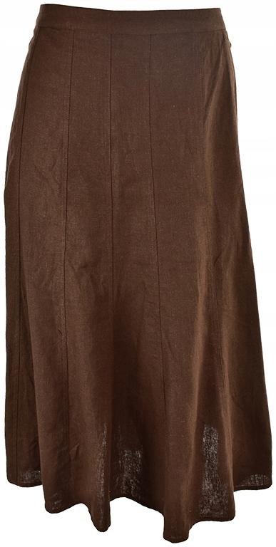 gTT0236 H&M brązowa spódnica z lnem 48 8305030654