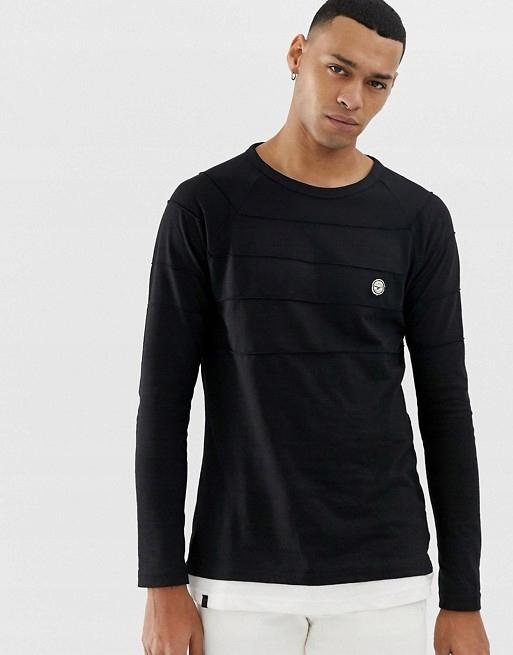 B808 LE BREVE czarna bluzka z białym długi rękaw L