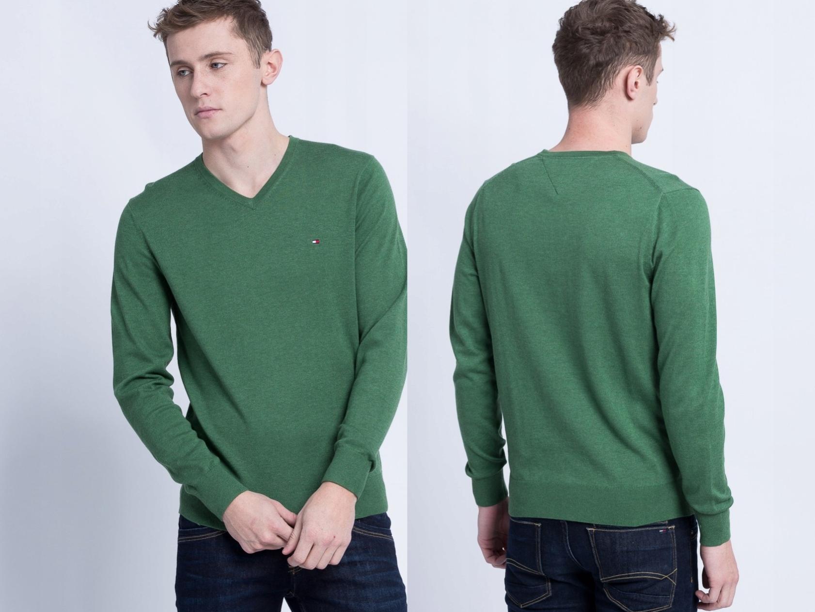 TOMMY HILFIGER MW0MW00188 ZIELONY sweter XL