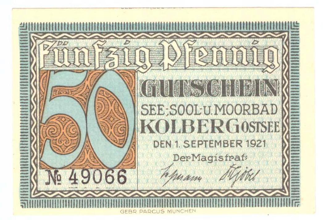 Polska 50 pfennig 1921 Kołobrzeg notgeld st.1-/1