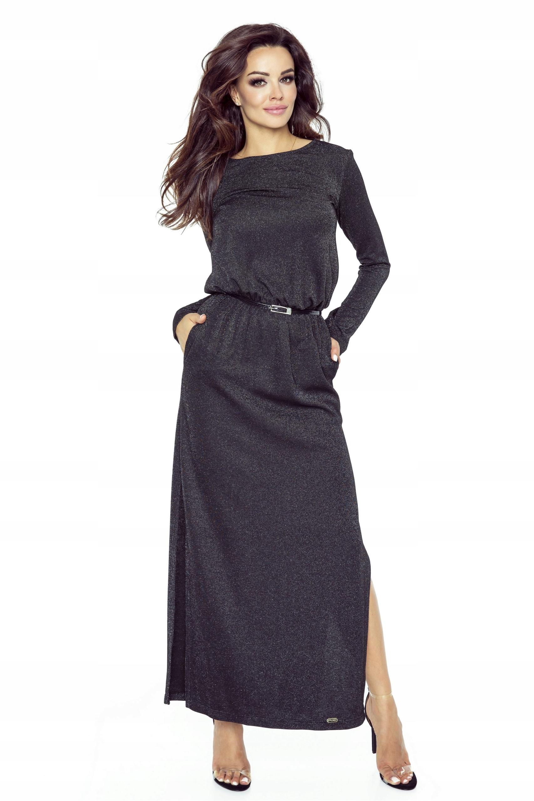 Długa sukienka maxi koronka z tyłu.M ODCIEŃ CZERN
