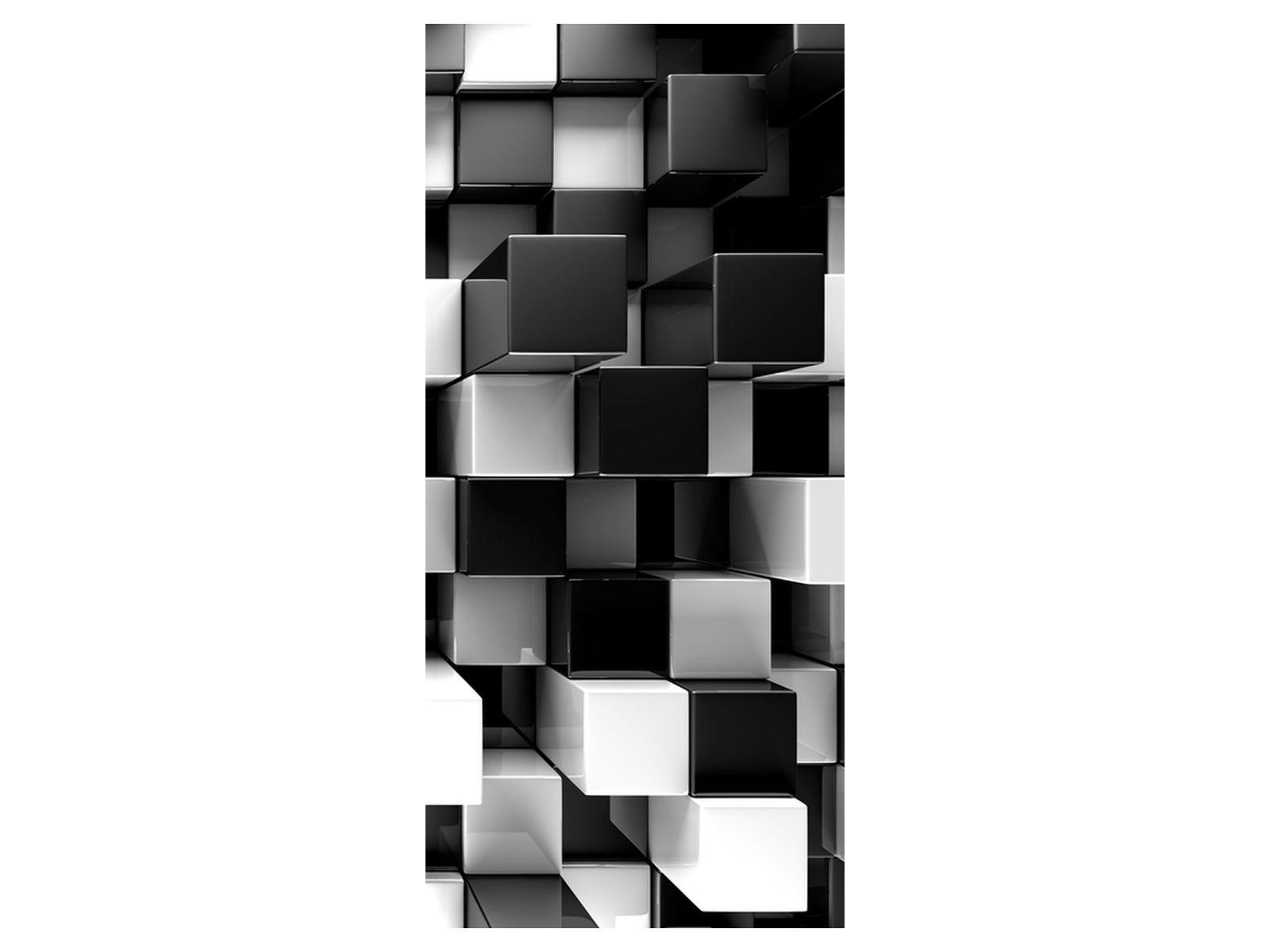 Okleina 95x205cm Czarne i białe bloki 3D