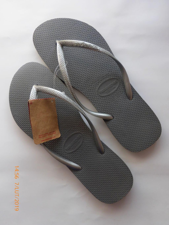 Klapki srebrne brazylijskie havaianas slim 42