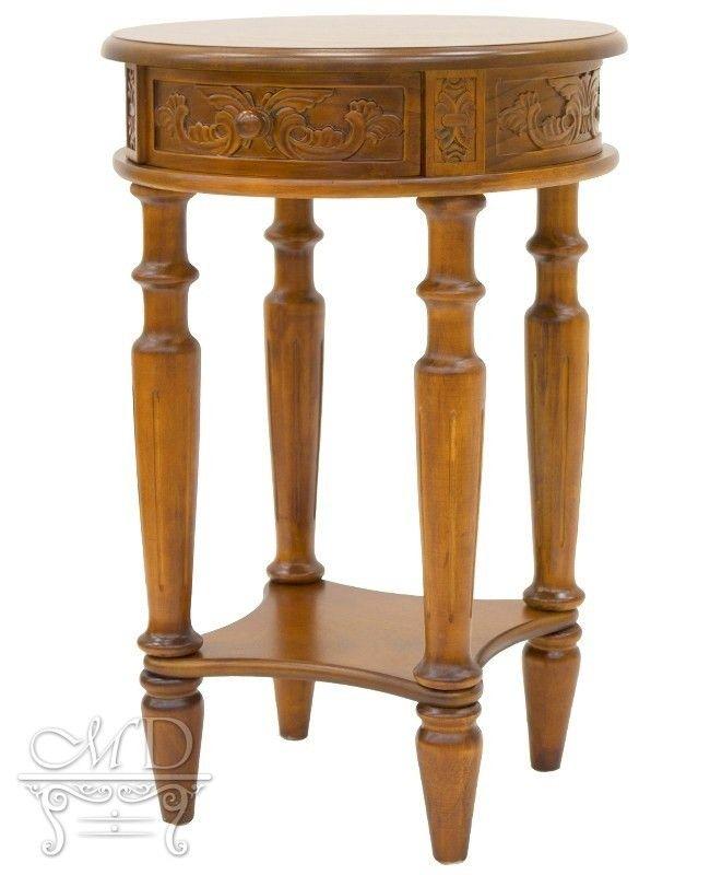 Stolik mały okrągły drewniany rzeźbiony stylowy